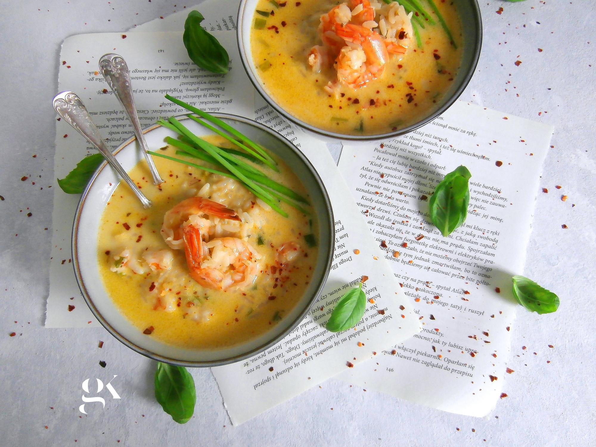 Zupa krewetkowa z dymką i ryżem