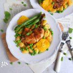 Kurczak w pomarańczach z gnocchi i szparagami